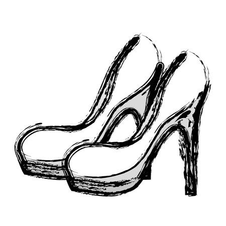 contour fashion heels high shoes, vector illustration