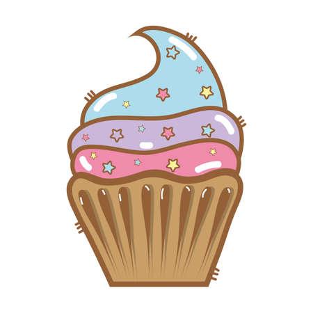 cupcake illustration: delicious cupcake to happy birthday celebration Illustration