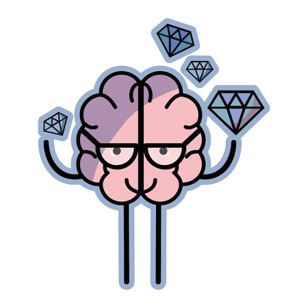 icon adorable brain with a lot of diamond Illustration