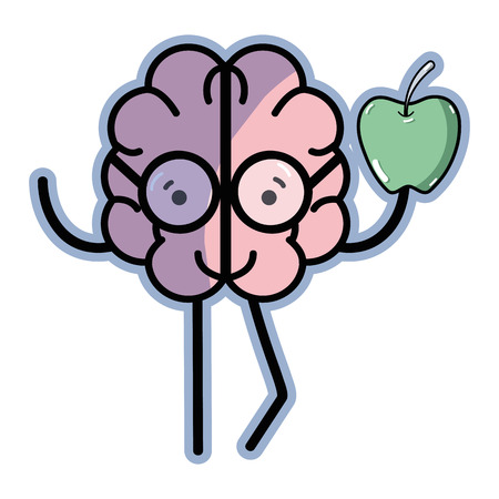 icon adorable brain eating apple Illustration
