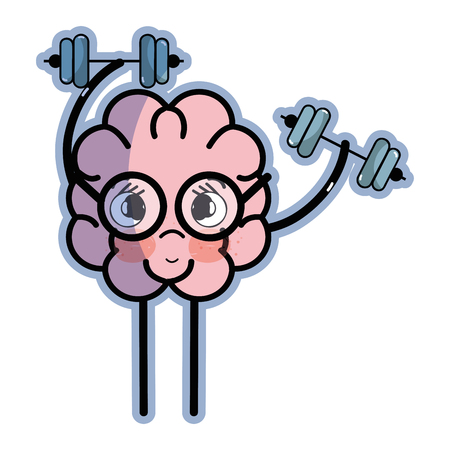 icon adorable brain doing exercise Ilustração