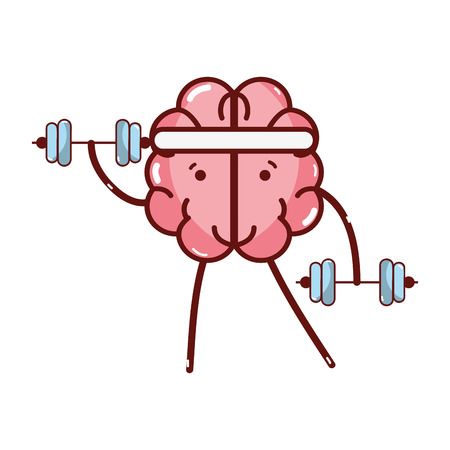 icon adorable kawaii brain doing exercise Illustration