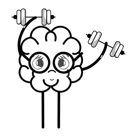 line icon adorable kawaii brain doing exercise