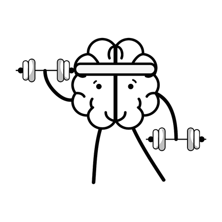 line icon adorable brain doing exercise Illustration