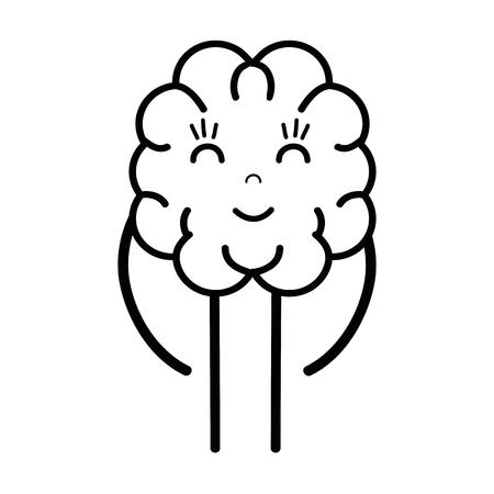 line icon adorable brain expression
