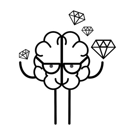 line icon adorable brain with a lot of diamond