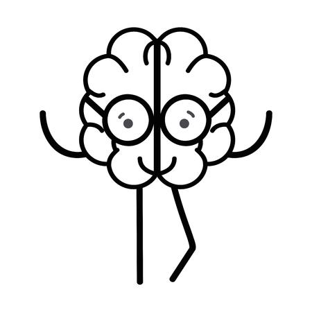 line icon adorable kawaii brain with glasses Illustration
