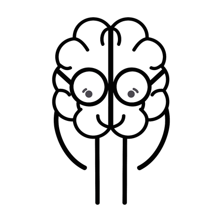 line icon adorable kawaii brain with glasses Illustration
