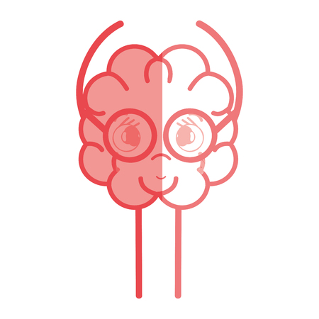 An icon adorable kawaii brain with glasses, vector illustration