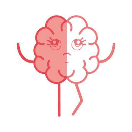 An icon adorable kawaii brain expression, vector illustration Illustration