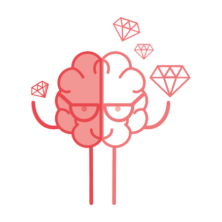 An icon adorable kawaii brain with a lot of diamond, vector illustration