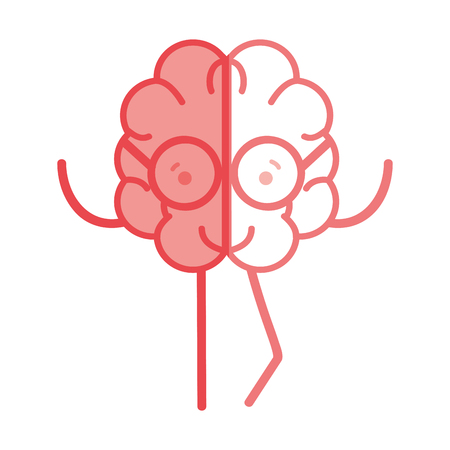 icon adorable brain with glasses Illustration