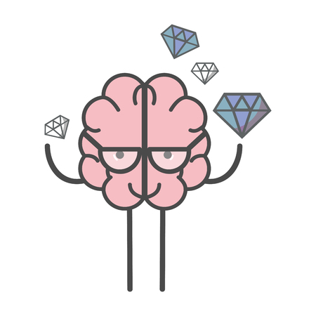 icon adorable  brain with a lot of diamond