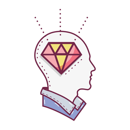color silhouette head with diamond inside, vector illustration Ilustrace