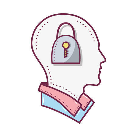 color silhouette head with padlock inside, vector illustration