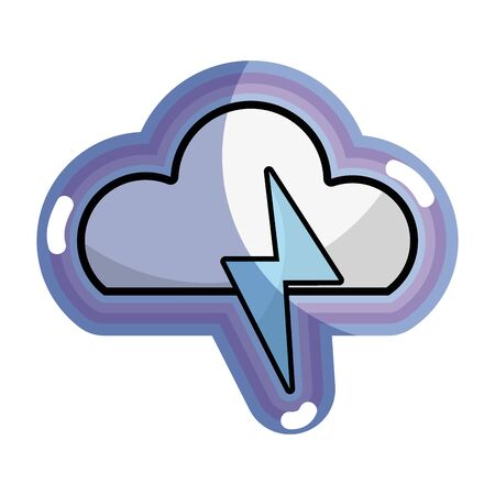 blue cloud and thunder storm weather, vector illustration