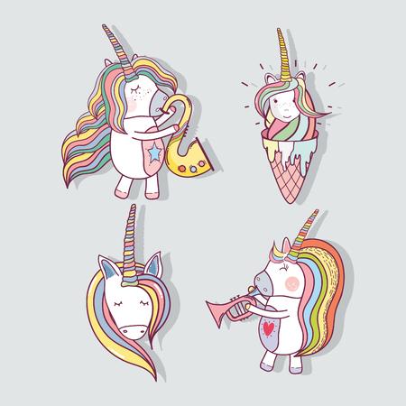 set beautiful unicorn with long mane, vector illustration Illustration
