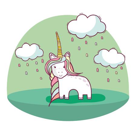 beautiful unicorn with long mane and nice land scape Illustration