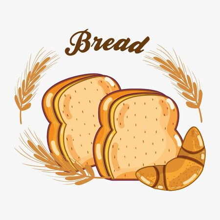 delicious chopped bread and corissant of wheat, vector illustration