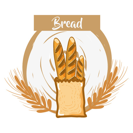 fresh and delicious french bread of wheat, vector illustration