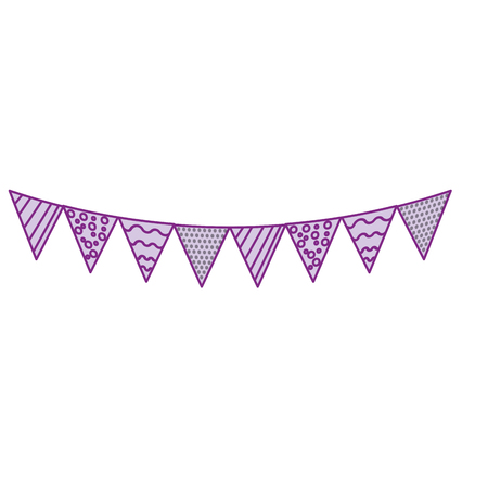 A silhouette party flags to decoration happy birthday, vector illustration