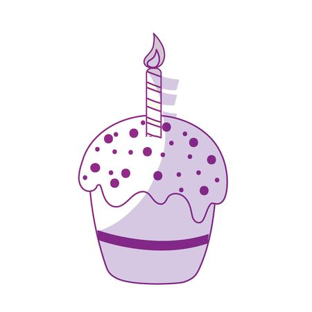 A silhouette delicious cupcake with candle to happy birthday, vector illustration