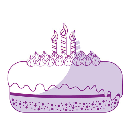 A silhouette delicious pastel with candles to happy birthday, vector illustration Illustration