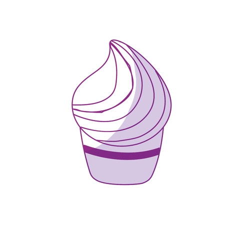 and delighted: silhouette delicious cupcake to happy birthday celebration, vector illustration