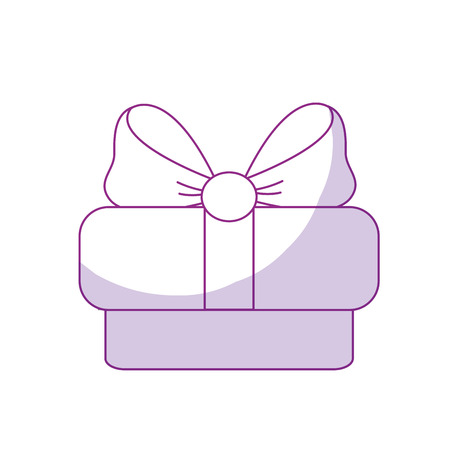 Silhouette gift present with ribbon decoration to celebrate party, vector illustration