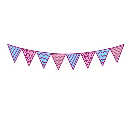 A party flags to decoration happy birthday, vector illustration