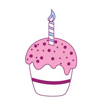 and delighted: delicious cupcake with candle to happy birthday, vector illustration