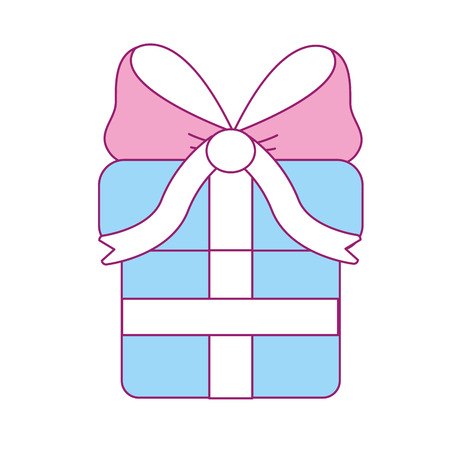 Gift present with ribbon decoration to celebrate party, vector illustration