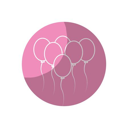 and delighted: sticker balloons party to happy birthday decoration, vector illustration