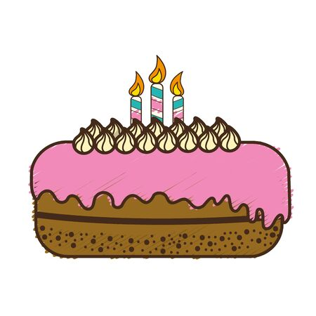and delighted: delicious pastel with candles to happy birthday, vector illustration Illustration