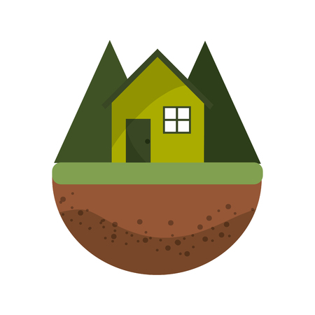 water ecosystem: nice house in the forest witn mountains, vector illustration design Illustration