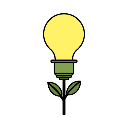 bulb plant with leaves to save environment Illustration