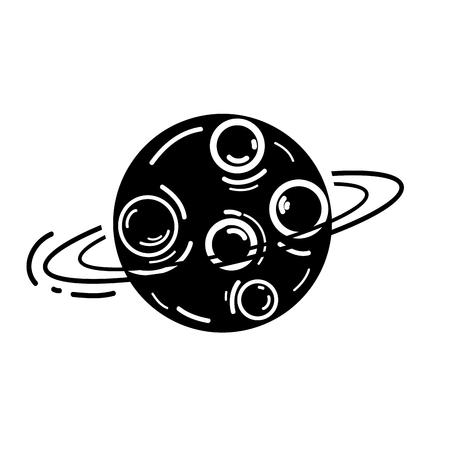 starfield: contour exploration uranus planet in the galaxy space Illustration