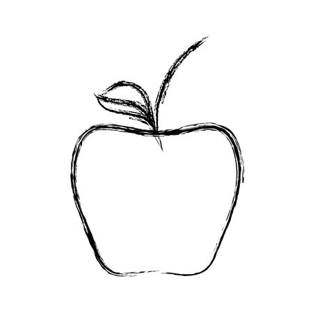 Line delicious apple healthy fruit Illustration