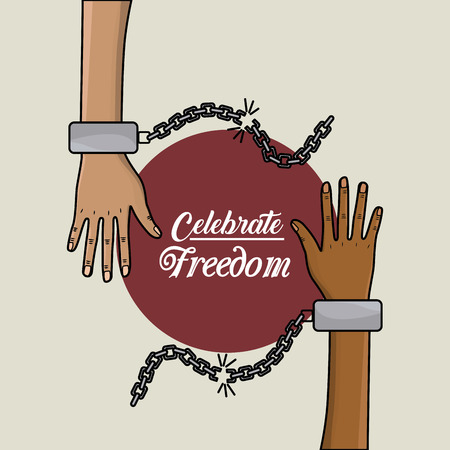 emancipation: hands with chains to celebrate freedom juneteenth, vector illustrtion