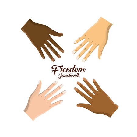 hands near celebrating freedom juneteenth, vector illustration