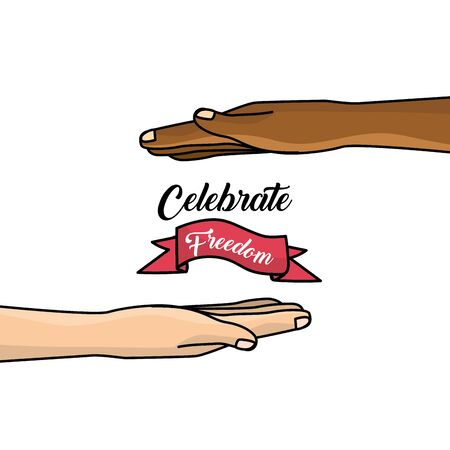 racismo: hands and ribbon to celebration freedom juneteenth, vector illustration