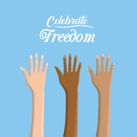 racism: hands up to celebrate freedom juneteenth, vector illustration