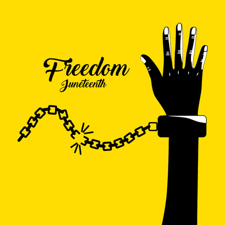 emancipation: hand up with chain to celebrate freedom, vector illustration