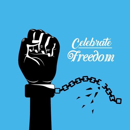 racism: hand fist up with chain to celebrate freedom, vector illustration Illustration