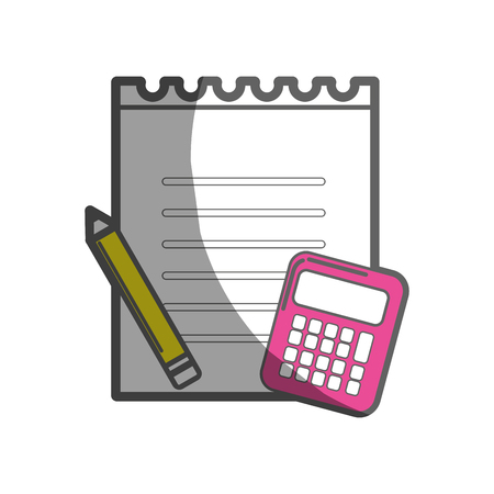 peper: paper notebook with pencil and calculator tools Illustration