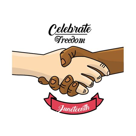 emancipation: hands together and ribbon to celebrate freedom juneteenth, vector illustration Illustration