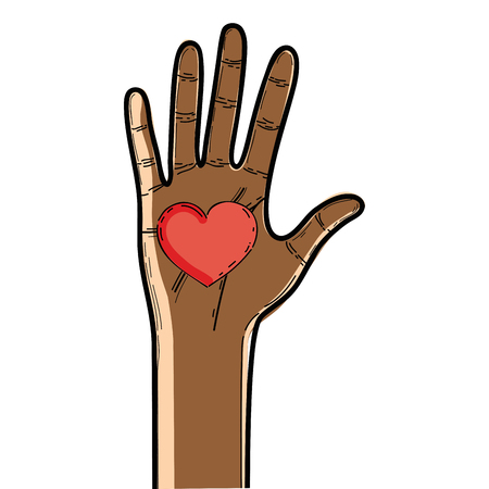 upwards: nice hand up with heart in the palm