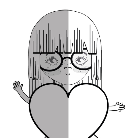 nice girls: line pretty girl with heart and glasses Illustration