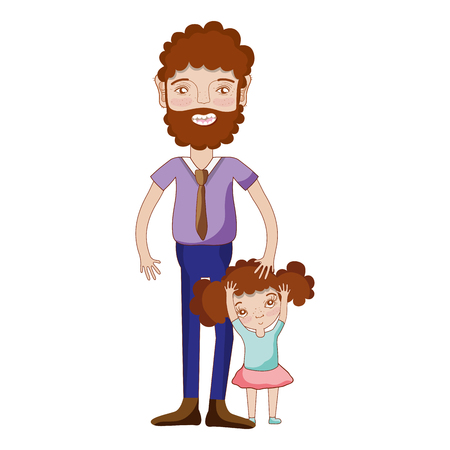 nice girls: nice father with his daughter and casual wear Illustration