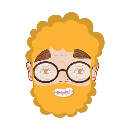 nice man face with beard and glasses